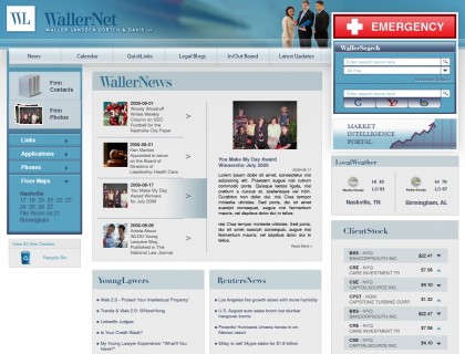 Webpage design for one of the biggest law offices in the Nashville are.
